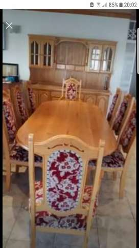 solid oak dining set 8 seater with 2 piece cabinet