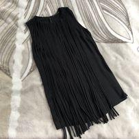 Czarna sukienka z frędzlami na studniówkę/wesele