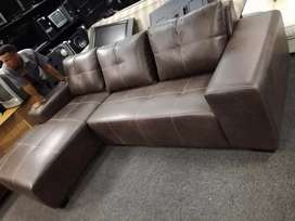 Leather L- shaped couch