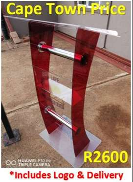 C Shape Red Perspex Body And Clear Top And Base Pulpit