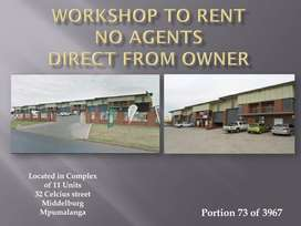 Two Workshop to rent direct from Owner in Secure complex