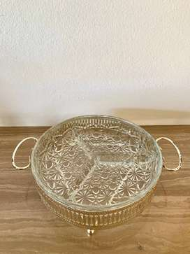 Glass Snack Divider Dish with Detailed Design