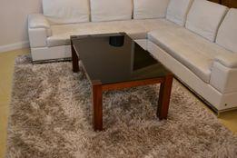 Ława stolik czarne szkło drewno