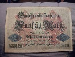 50 marek 1914 wojenny banknot oryginalny antyk staroć pieniądze I WŚ
