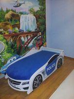 Кровать-машина Полиция с матрасом ящиком и мягким подголовником!