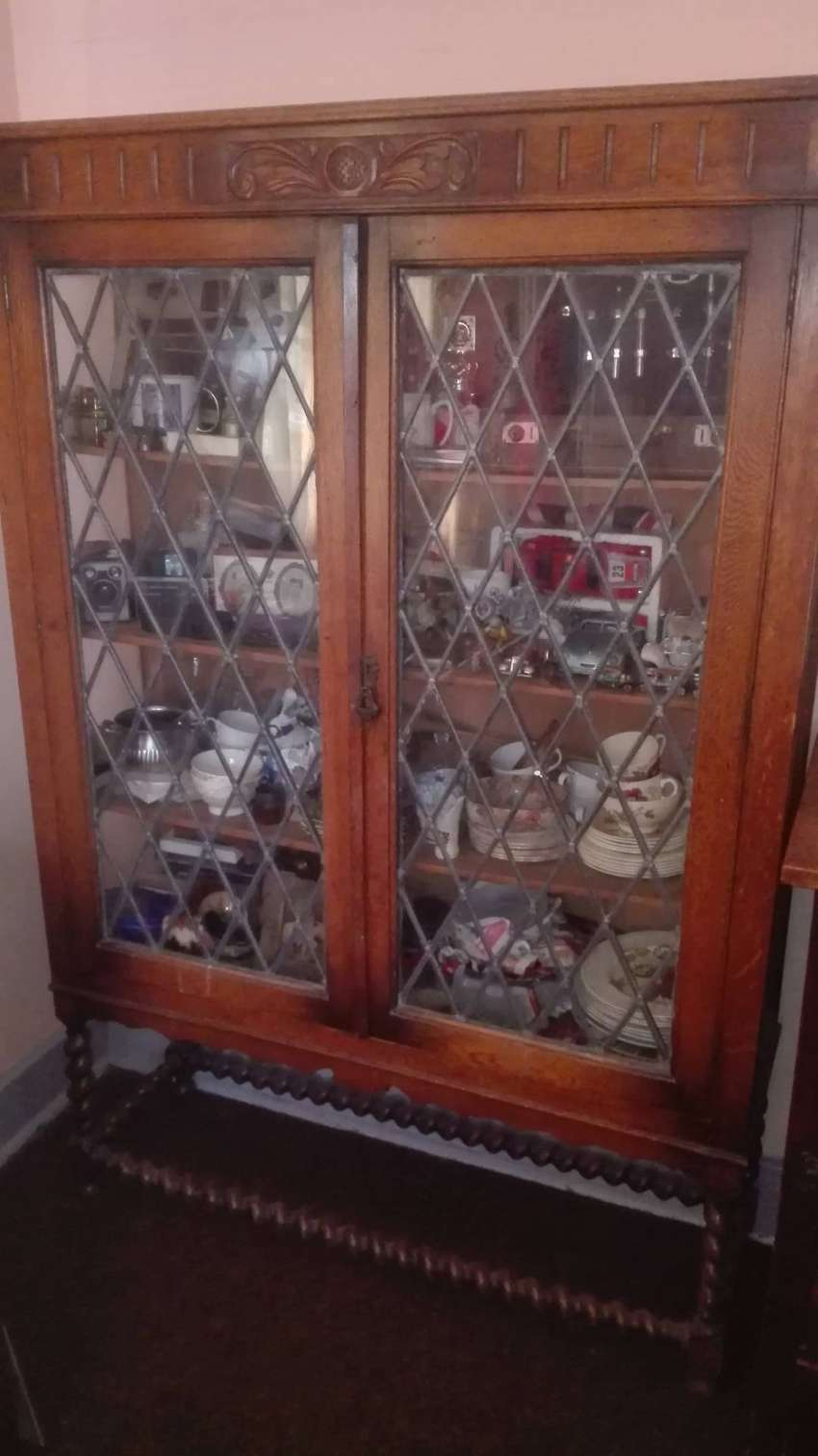 Antique Oak Display Cabinet 0