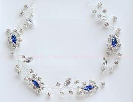 Ozdoba ślubna stroik do włosów opaska biżuteryjna gałązka srebrna