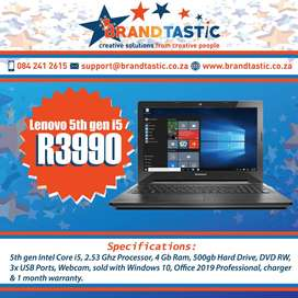Powerful Lenovo 5th gen i5 2.53Ghz, 4Gb Ram, 500Gb Hd @ R3990