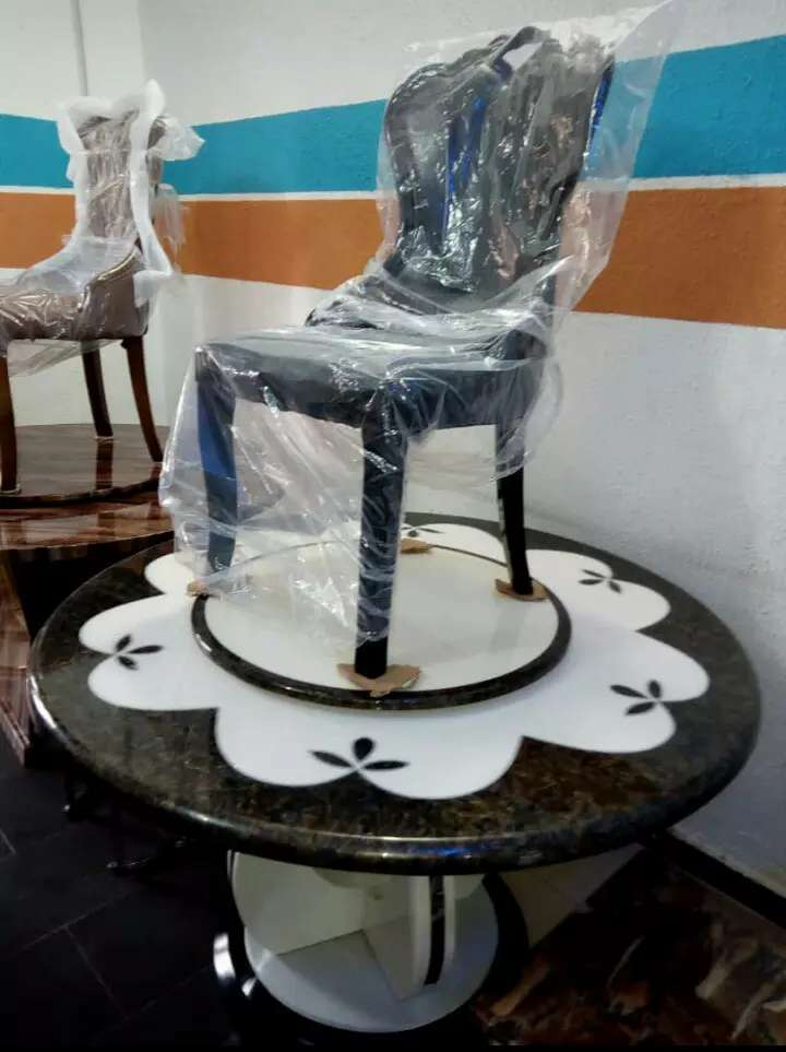 Marble Top Dinning Set by 6Chairs 0