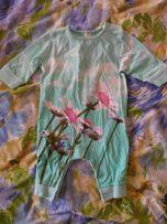 Ромпер, человечек, слипик, бодик ментолового(бирюза)цвета с 3D цветами