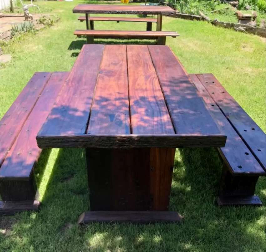 Solid sleeper wood tables with benches 0