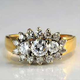 9ct or 18ct Gold Cluster Diamond Engagement Ring | 0.81 ctw