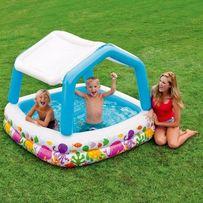 Детский надувной бассейн Intex со съемной крышей 157х157х122 cм