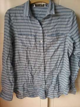 Cotton On blue striped shirt size small