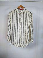 koszula z długim rękawem w paski bluzka ściągacze modna kremowa