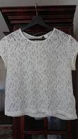 H&M Divided biała koronkowa bluzka z tylnym suwakiem