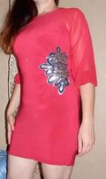 Модное красное платье с пайетками (Bon prix) нарядное праздничное