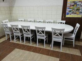 Stół okrągły rozkładany biały na jednej nodze fi 110 +4x45 +12 krzeseł