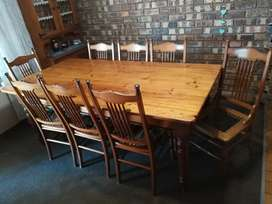 Dining room table with 8 chairs (oregon table yellow wood chairs)