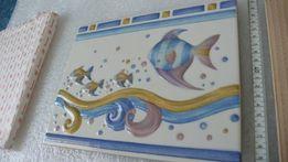 """Фризы (декоры) """"Рыбки"""", рельефные керамические, 2 шт."""