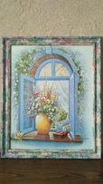 """Картина в раме """"Цветы на окне"""""""