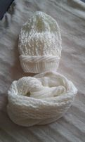 Nowy biały komplet czapka + komin
