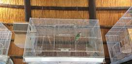 Breading cage with nestbox and feeders