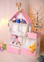 Домик для игрушек! Дом для Барби! Розовый игрушечный дворец!
