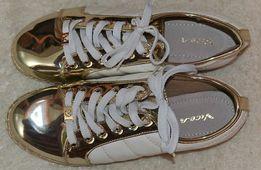 Кеды женские белые с золотом на шнурках, 24 см по стельке