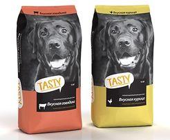 """Корм для собак """"TASTY"""" 15 кг. С говядиной или курицей."""