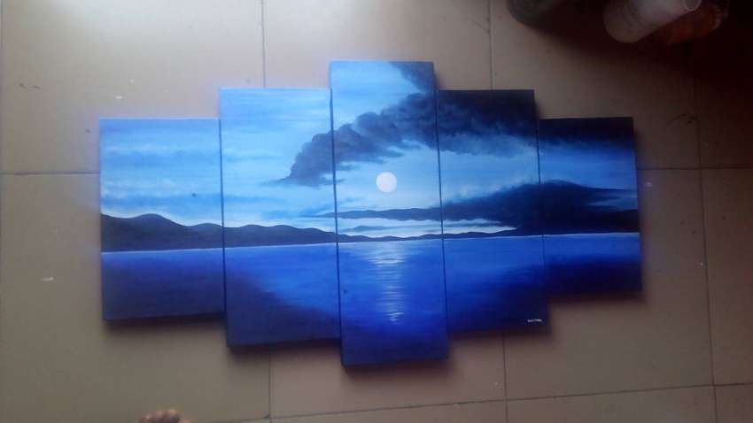 Blue sunset painting 0