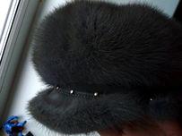 Норковая шапка кепка берет с козырьком 55-56