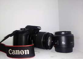 Canon EOS 4000D with 18-55mm and 50mm lenses+battery and charger