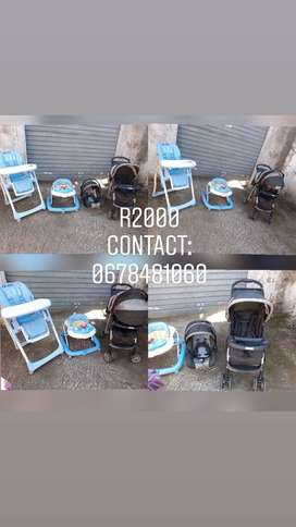 Pre-owned baby set:Graco Pram&car seat with walker and feeding chair h