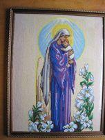 Икона Матерь Божья с младенцем, вышито, ручная работа