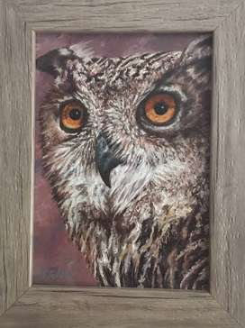 Tegz - Original Oil Painting Single Frame Owl Face Size 25x20cm.