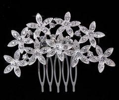 biżuteria ślubna do włosów - ozdobny grzebień z cyrkoniami stroik