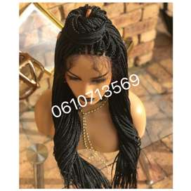 Black lace front braided wig