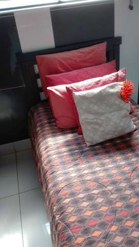 single bed with pedestal and mattress excluding bedding