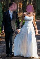 Piękna suknia ślubna dla wysokiej Panny Młodej. Okazja!!!