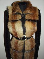 Шикарная мутоновая шуба с лисой р.44-46 натуральная дубленка