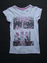 Y.D biały T-shirt aplikacje napisy bluzka 140