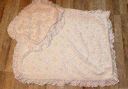 Одеяло, плед в коляску, вязанный