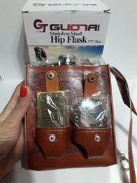 Фляга,зажигалка и раскладной стакан в сумке 540 мл.