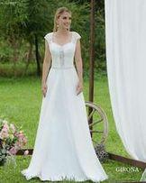 Piękna Suknia ślubna Prive Girona Afrodyta Lekka Muslin Koronka