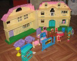 Rozkładany duży domek zabawka + akcesoria + gratis stan bdb warto