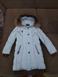 Пуховик,пальто,парка,куртка,зимняя,легкая,натуральный мех.