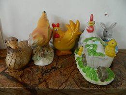 Figurki wielkanocne,zając,kury,koguty z porcelany