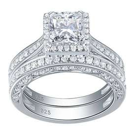 Solid Sterling Silver Princess Cut Halo Wedding Ring Set