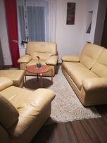 Zestaw mebli ze skóry naturalnej sofa i 2 fotele